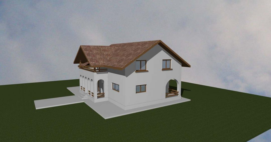 Casa cu garaj (varianta rustica)